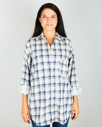 CP Shades Clothing Blue/Tan/Brown Plaid / XS Jack - Blouse Plaid Micro Cord