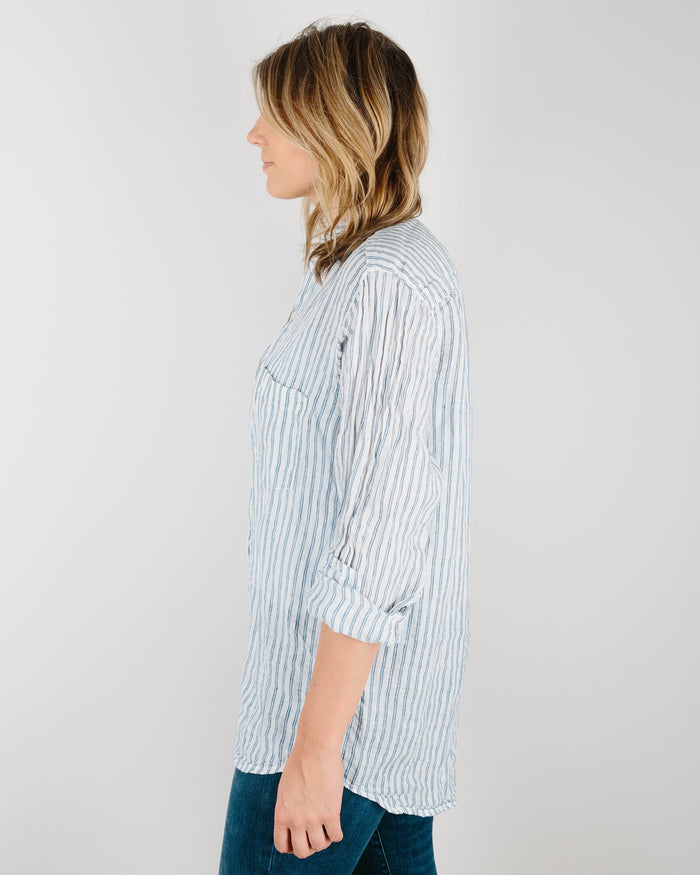 CP Shades Clothing Jack Boyfriend Shirt in Blue & Black Stripe