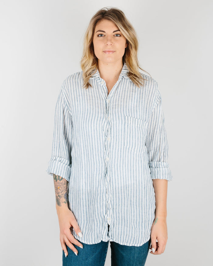 CP Shades Clothing Blue & Black Stripe / XS Jack Boyfriend Shirt in Blue & Black Stripe