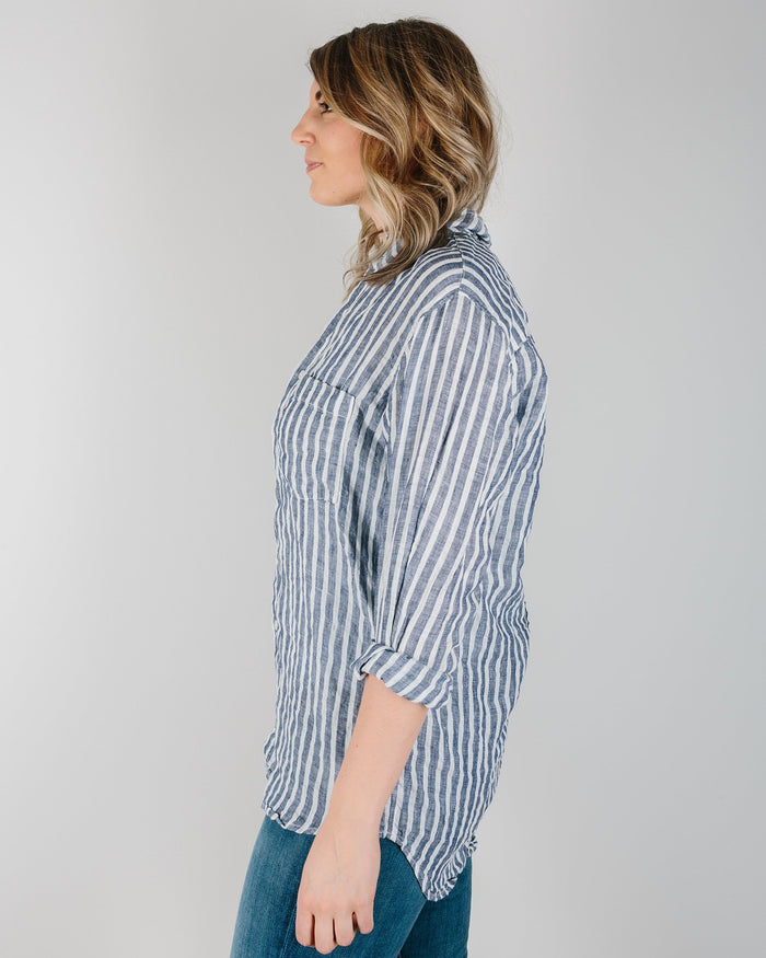CP Shades Clothing Navy & White Stripe / XS Jack Boyfriend Shirt in Navy & White Stripe