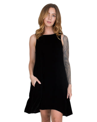 CP Shades Clothing Black / XS Jacqui Tank Dress in Black Velvet