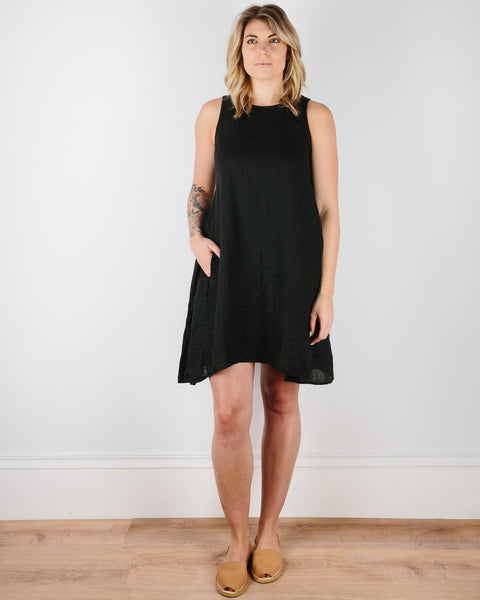CP Shades Clothing Black / XS Jacqui Tank Dress in Dyed Linen