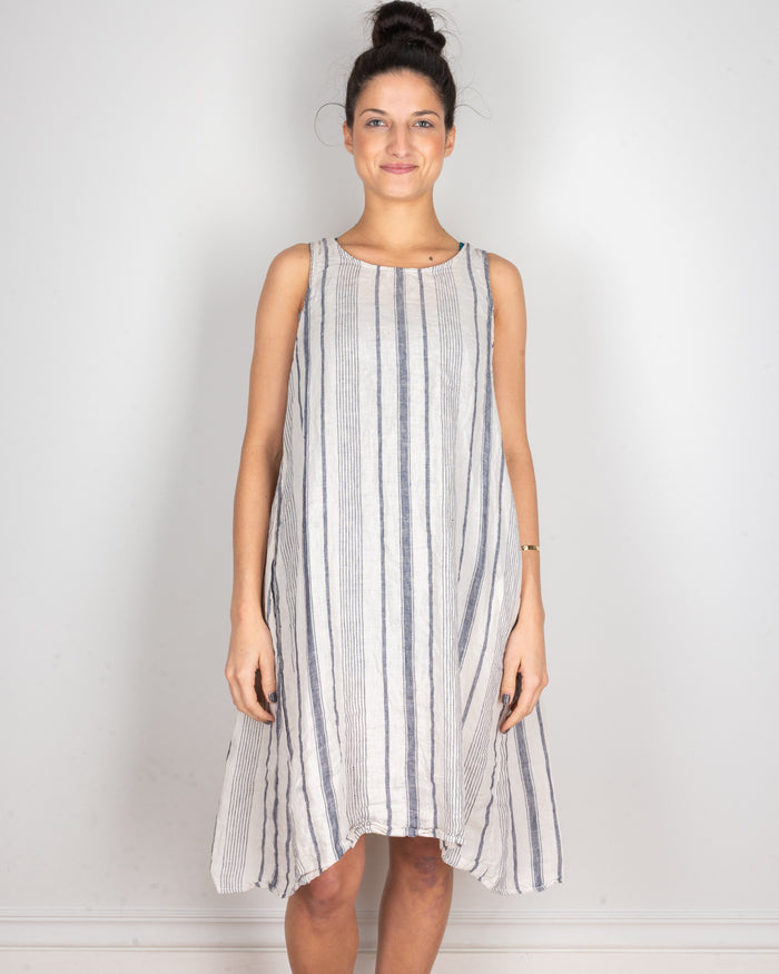 CP Shades Clothing Navy & Ivory Stripe / XS Jacqui Tank Dress in Navy & Ivory Stripe