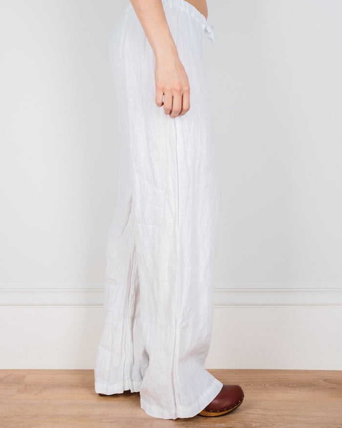CP Shades Clothing White / XS Jenn Drawstring Pant in White Linen
