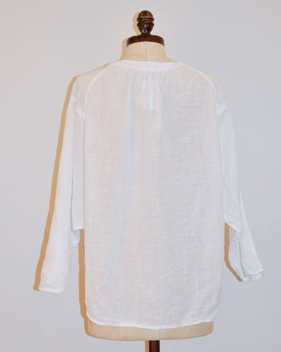 CP Shades Clothing Kalina Boxy Henley in White Cotton