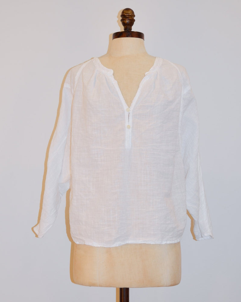 CP Shades Clothing XS Kalina Boxy Henley in White Cotton