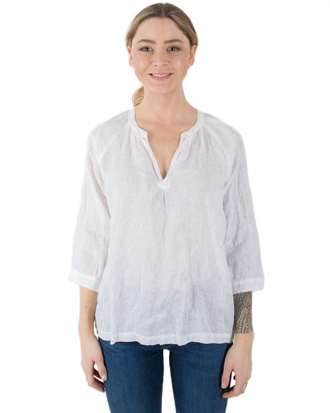 CP Shades Clothing White / XS Katie Peasant Top in White Linen