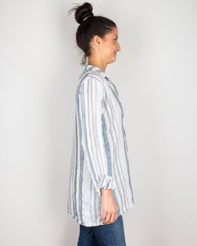 CP Shades Clothing Kendall Blouse in Blue & Black Stripe