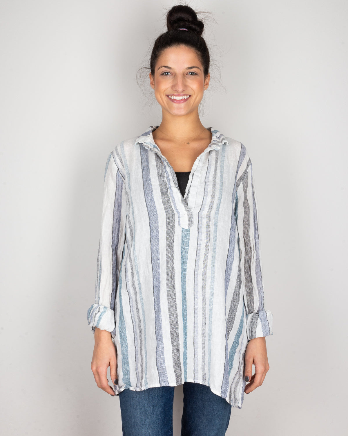 CP Shades Clothing Blue & Black Stripe / XS Kendall Blouse in Blue & Black Stripe
