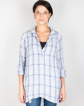 CP Shades Clothing Blue & Pink Plaid / XS Kendall Blouse in Blue & Pink Plaid