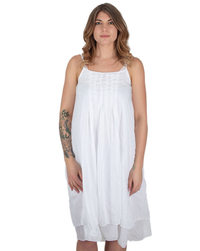 CP Shades Clothing White / XS Lia Darted Front Tank Dress in White