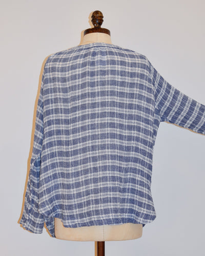 CP Shades Clothing Livia V Neck Top in Blue Plaid
