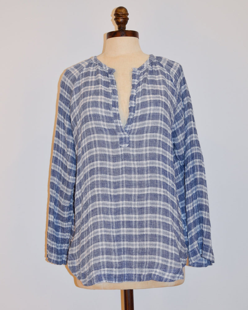 CP Shades Clothing XS Livia V Neck Top in Blue Plaid