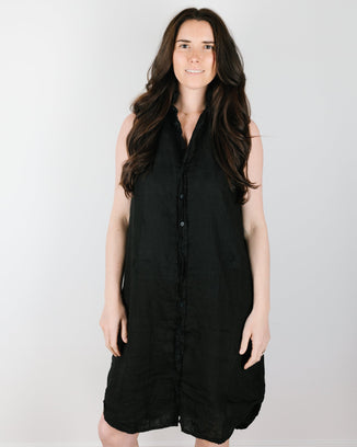 CP Shades Clothing Mara Shirtdress in Black Linen