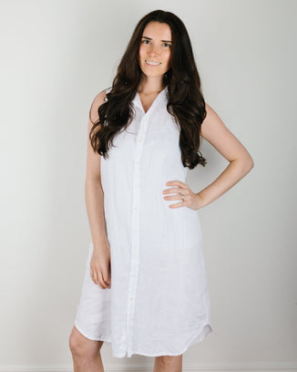 CP Shades Clothing Mara Shirtdress in White Linen