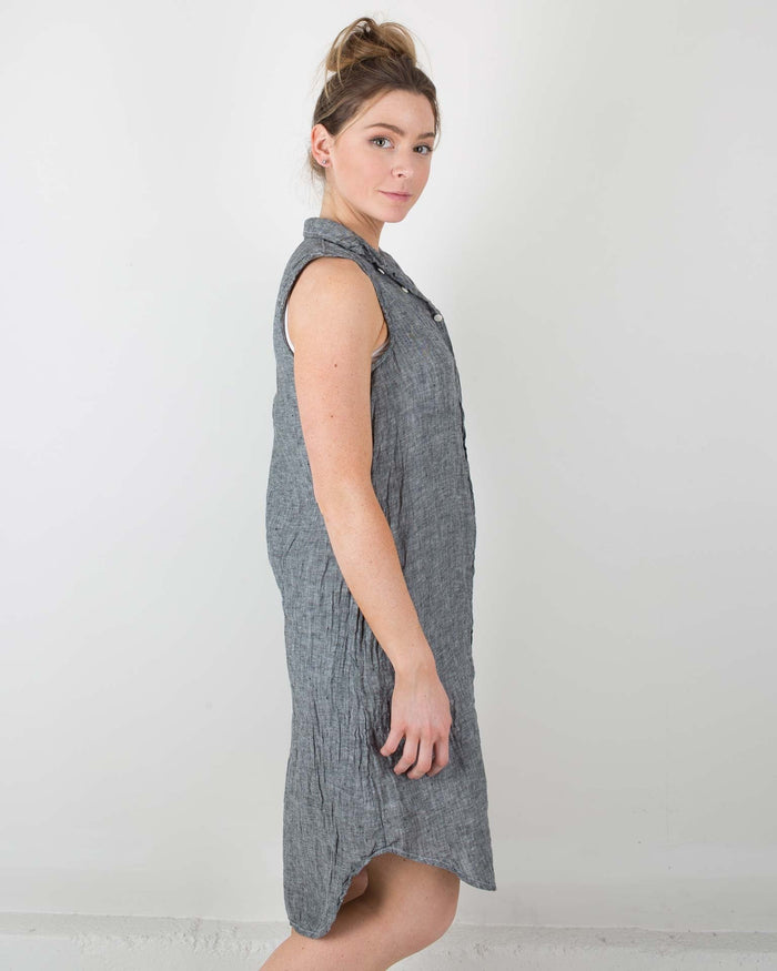 CP Shades Clothing Black Chambray / XS Mara Sleeveless Shirtdress