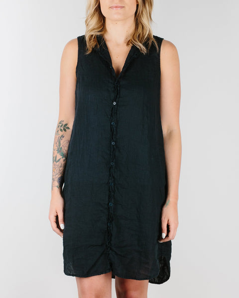 CP Shades Clothing Ink / XS Mara Sleeveless Shirtdress in Dyed Linen