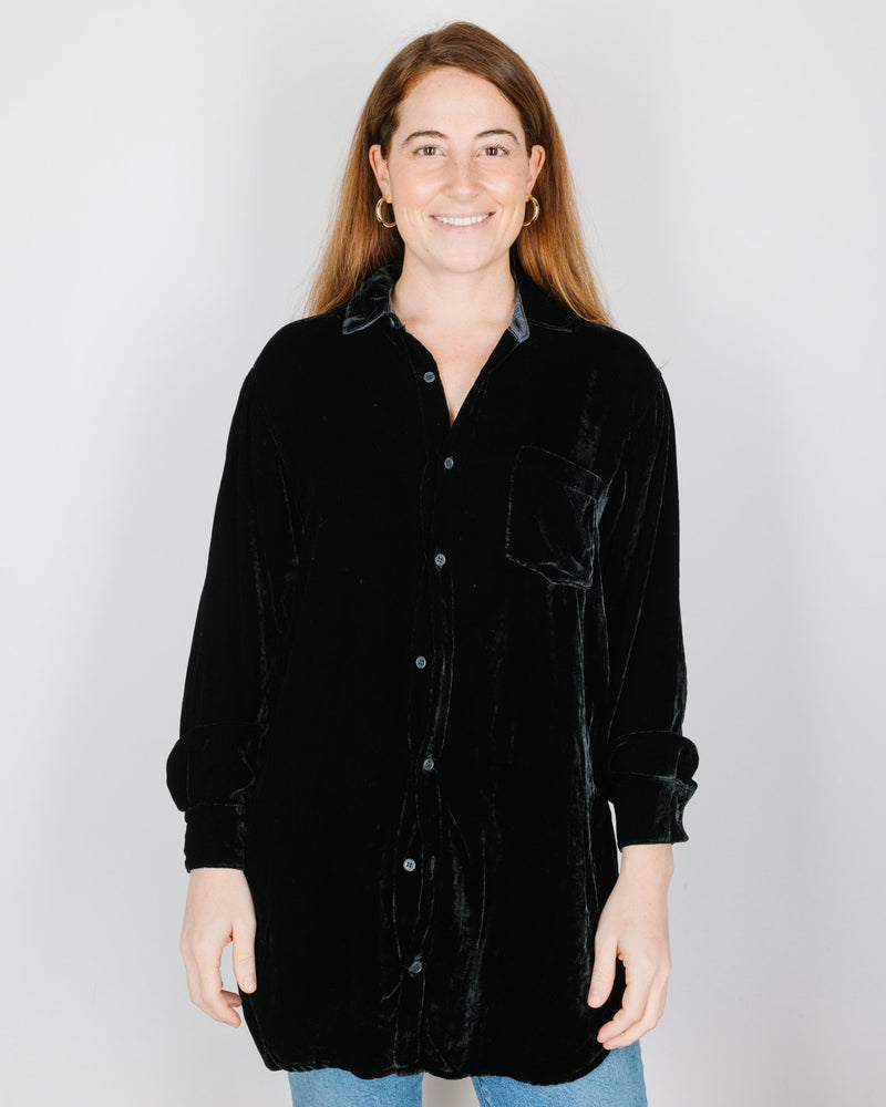 CP Shades Clothing Marella Tunic Blouse in Black Silk Velvet