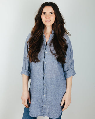 CP Shades Clothing Marella Tunic Blouse w/ Slits in Ink Chambray