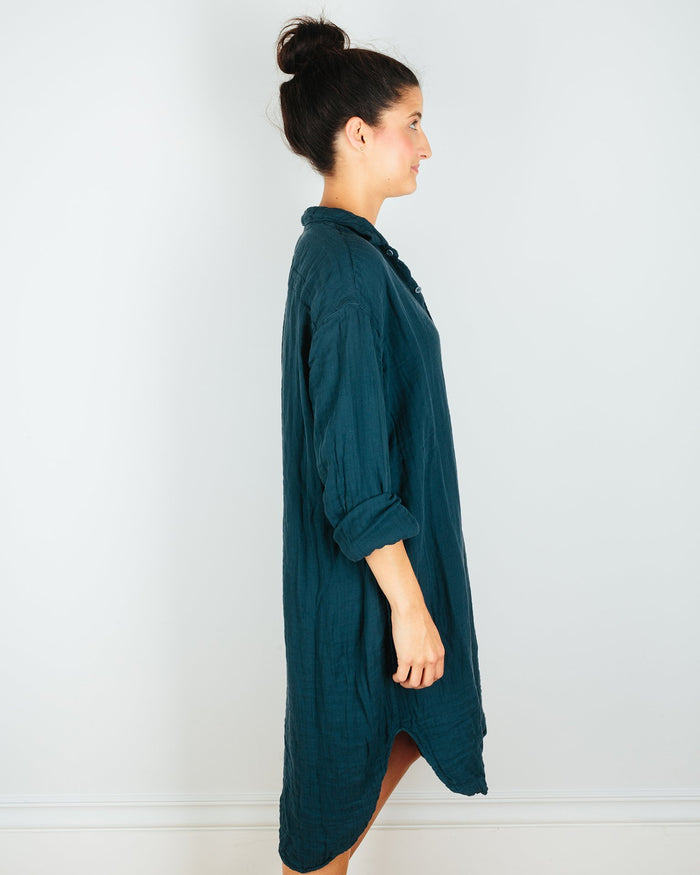 CP Shades Clothing Mari Oversized Shirtdress in Blue Green Cotton Gauze