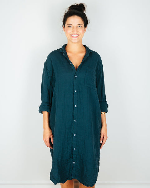 CP Shades Clothing Blue Green / XS Mari Oversized Shirtdress in Blue Green Cotton Gauze