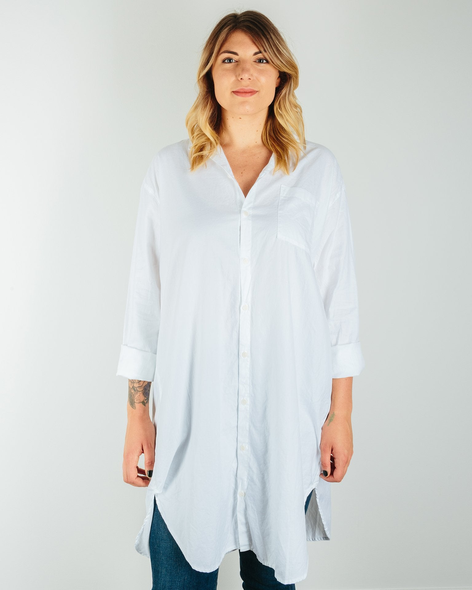 CP Shades Clothing White / XS Mari Oversized Shirtdress in Cotton Twill