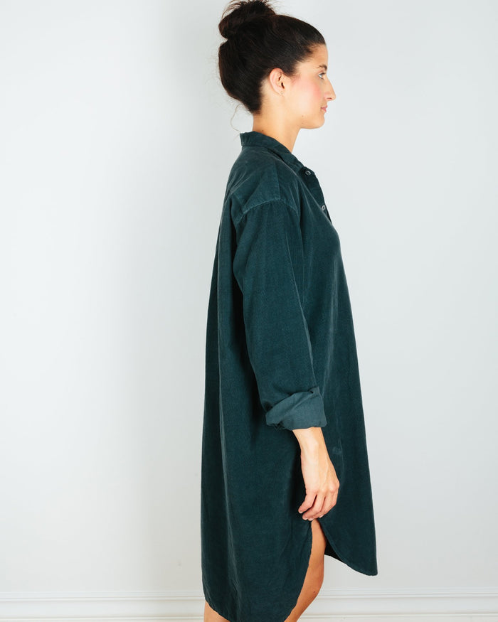 CP Shades Clothing Mari Oversized Shirtdress in River Rock Micro Cord