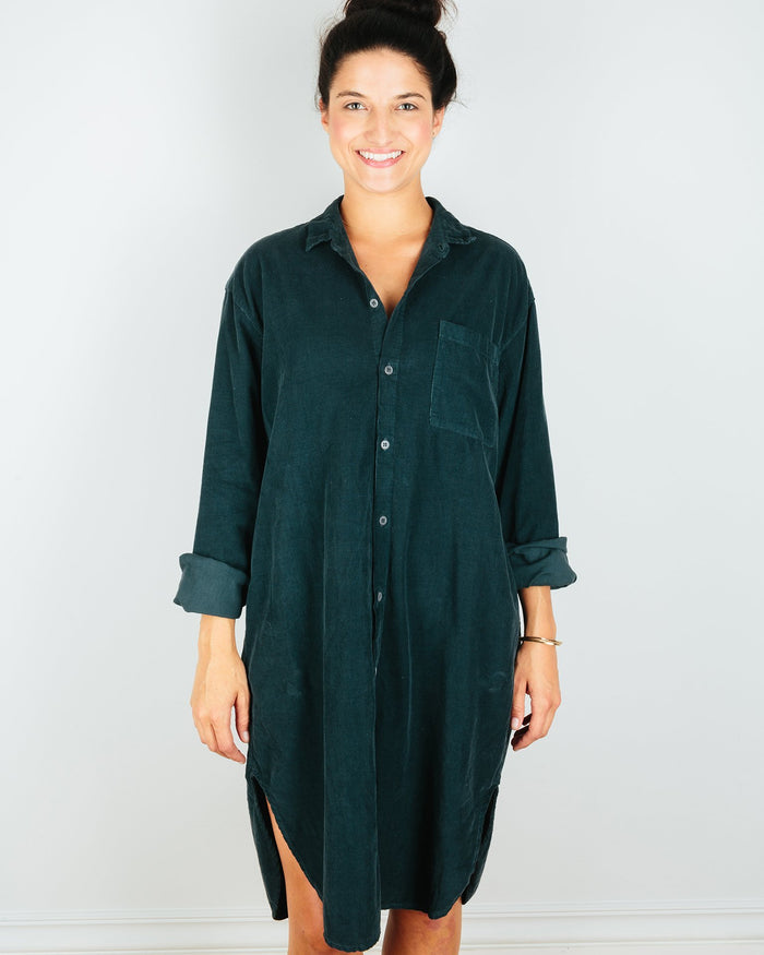 CP Shades Clothing River Rock / XS Mari Oversized Shirtdress in River Rock Micro Cord