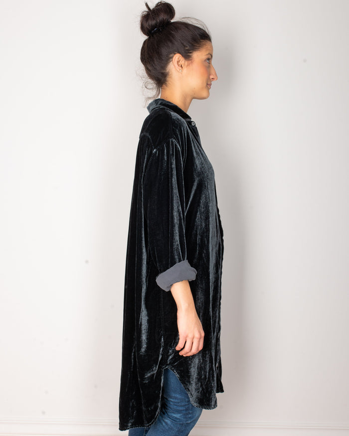CP Shades Clothing Mari Oversized Shirtdress in River Rock Silk Velvet