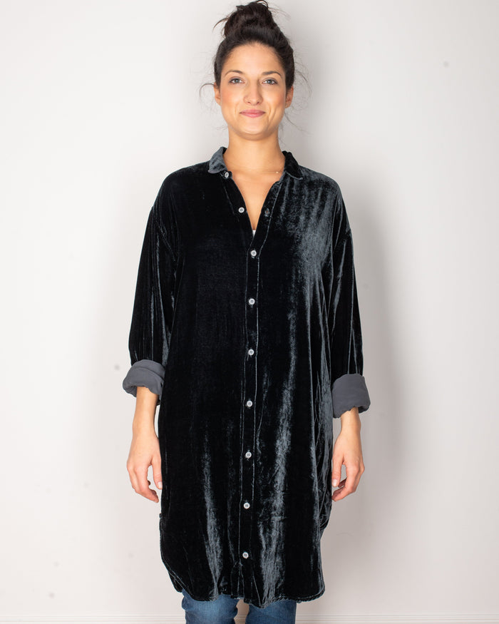 CP Shades Clothing River Rock / XS Mari Oversized Shirtdress in River Rock Silk Velvet