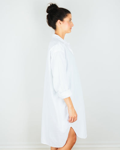 CP Shades Clothing Mari Oversized Shirtdress in White Micro Cord