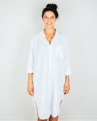 CP Shades Clothing White / XS Mari Oversized Shirtdress in White Micro Cord