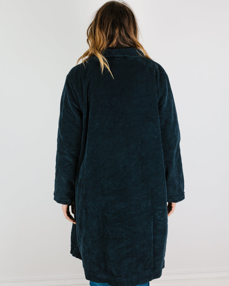 CP Shades Clothing Marian Wide Wale Cord Coat in Ink