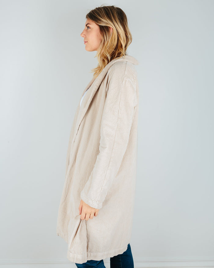 CP Shades Clothing Marian Wide Wale Cord Coat in Oat