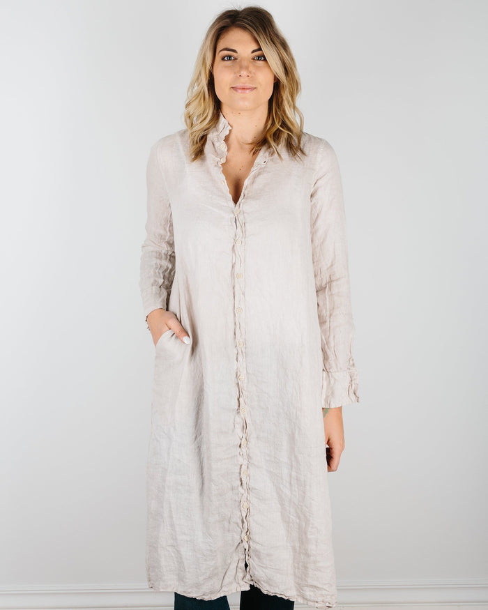 CP Shades Clothing Oat / XS Maxi Shirtdress in Dyed Linen