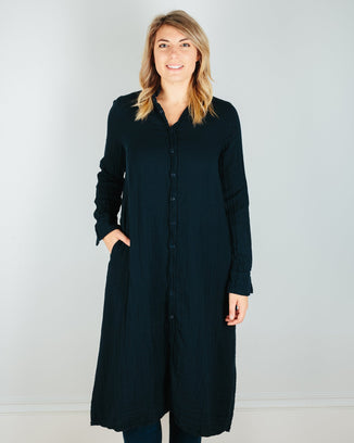 CP Shades Clothing Ink / L Maxi Shirtdress in Ink Double Cotton Gauze