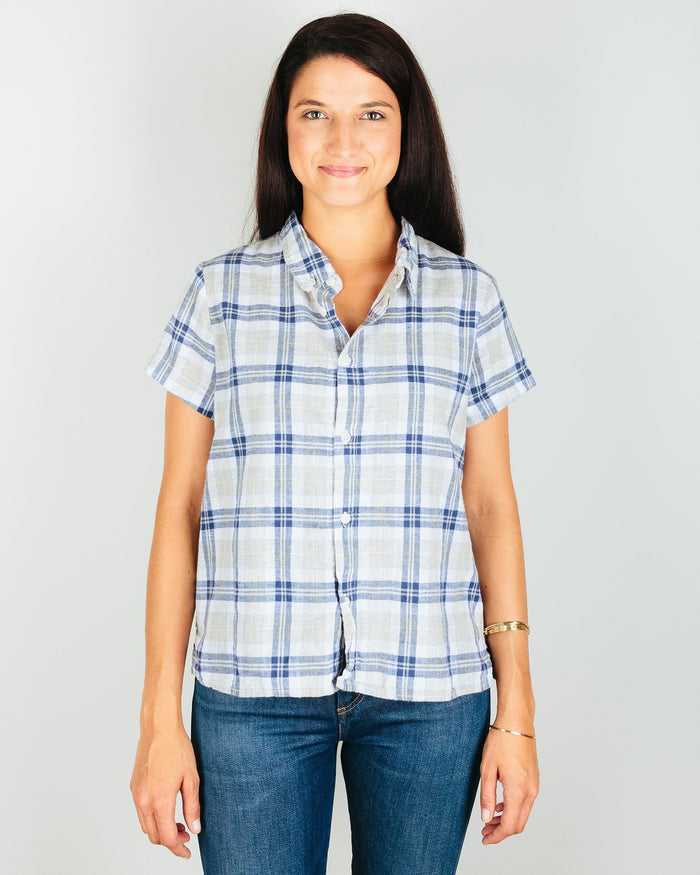 CP Shades Clothing Blue/Grey/Yellow Plaid / XS Mia Short Sleeve Crop Blouse