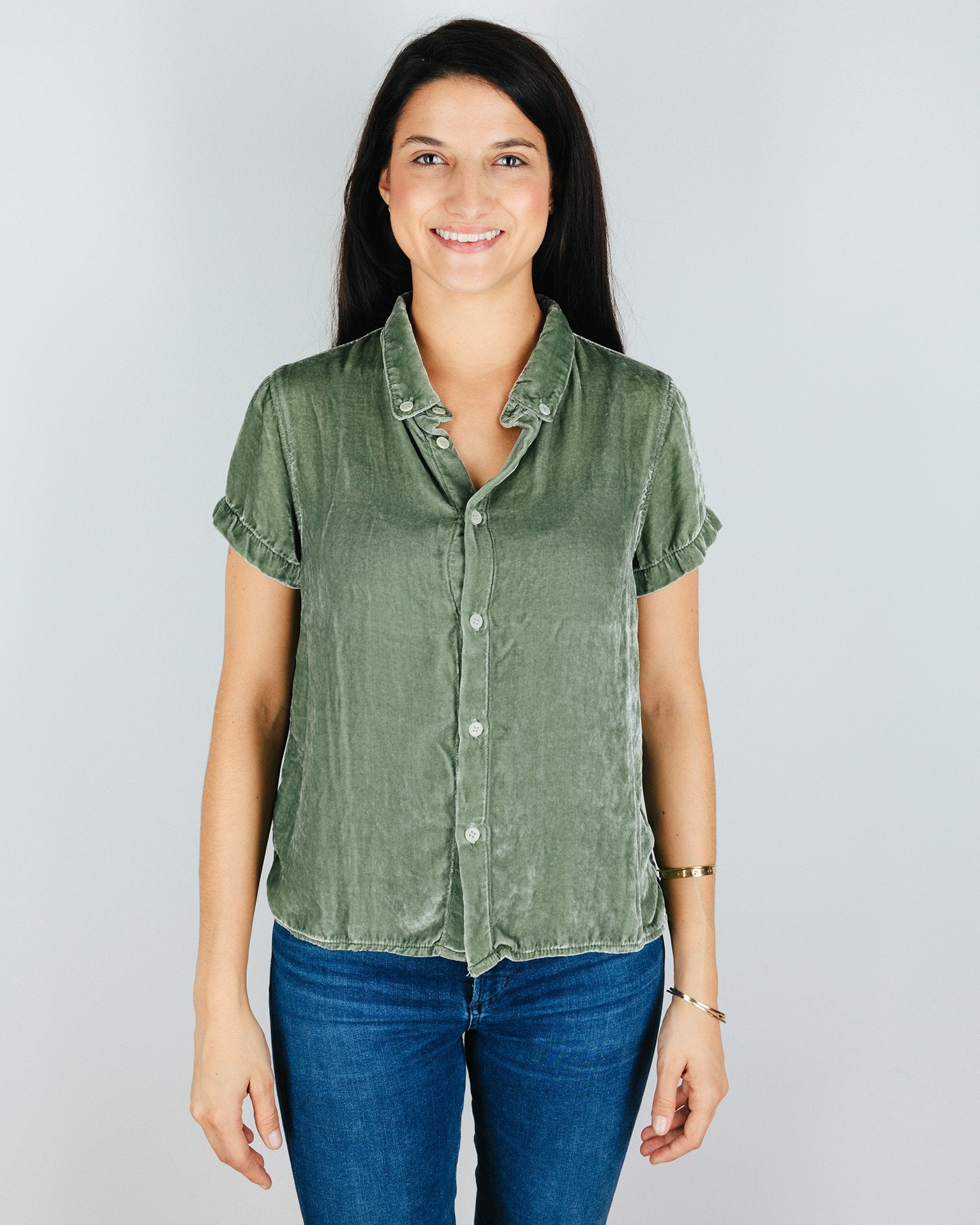 CP Shades Clothing Eucalyptus / XS Mia Short Sleeve Crop Blouse