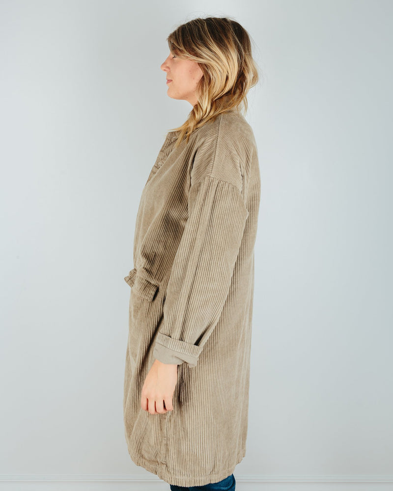 CP Shades Outerwear Morgan Wide Wale Cord Coat in Elephant