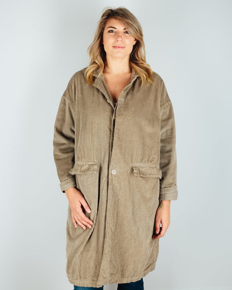 CP Shades Outerwear Elephant / XS Morgan Wide Wale Cord Coat in Elephant