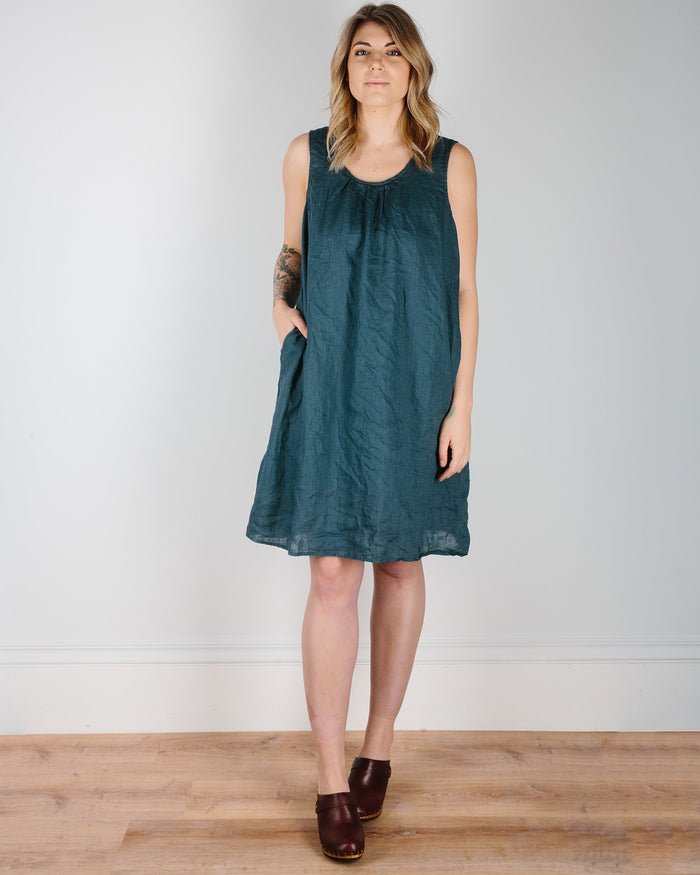 CP Shades Clothing Blue Green / XS Mya Scoop Dress in Blue Green Linen