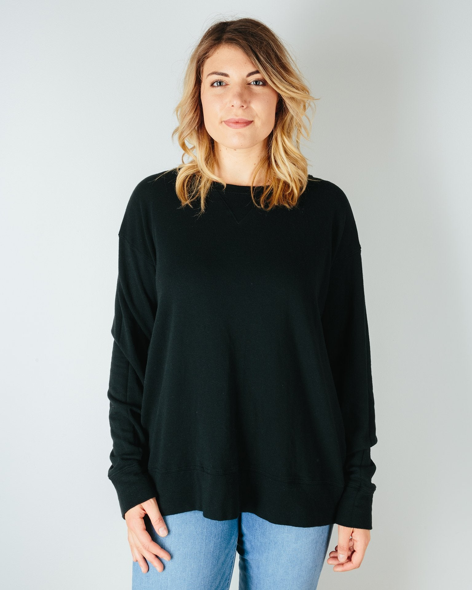 CP Shades Clothing Black / XS Pam Knit Boxy Sweatshirt in Black
