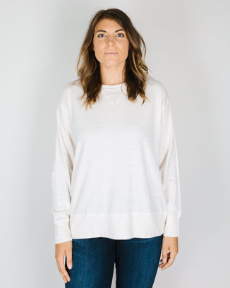 CP Shades Clothing Pam Knit Boxy Sweatshirt in Ivory