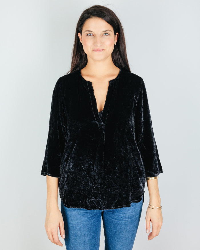 CP Shades Clothing River Rock / XS Pascal Blouse in River Rock Silk Velvet