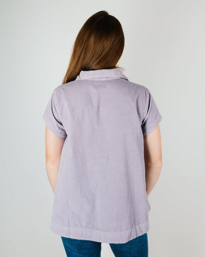 CP Shades Clothing Peek Henley Blouse in Lilac Micro Cord