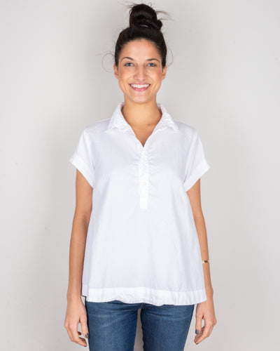 CP Shades Clothing White / XS Peek Henley Blouse in White