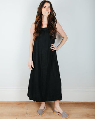 CP Shades Clothing Poala Dress in Black  Linen Twill