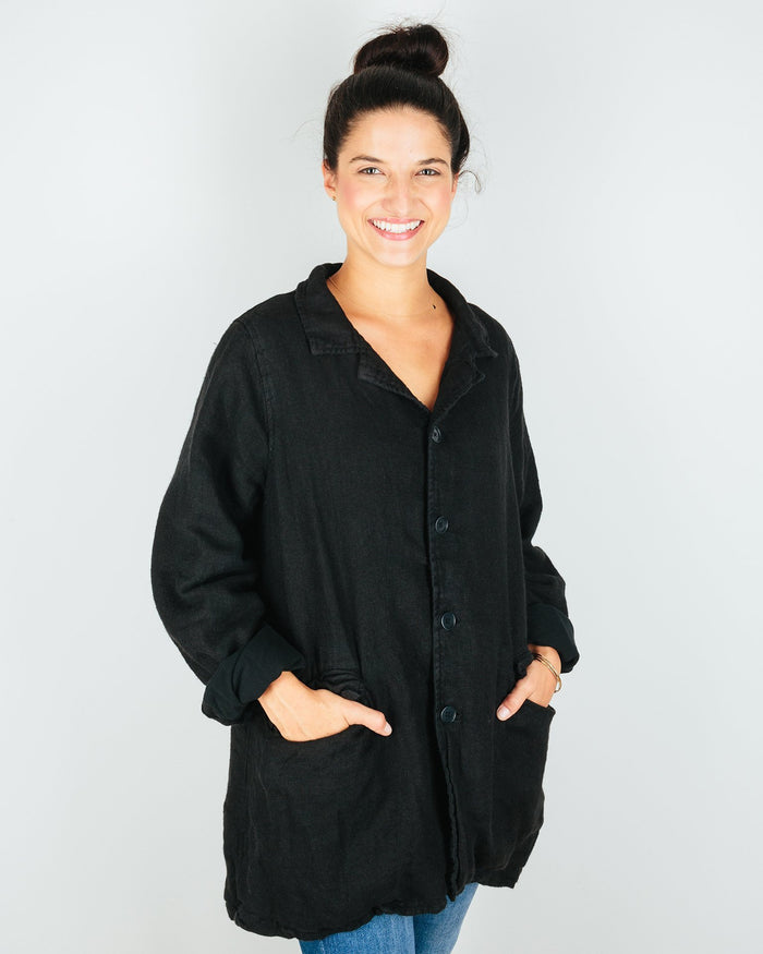 CP Shades Outerwear Regan Coat in Black Linen Wool
