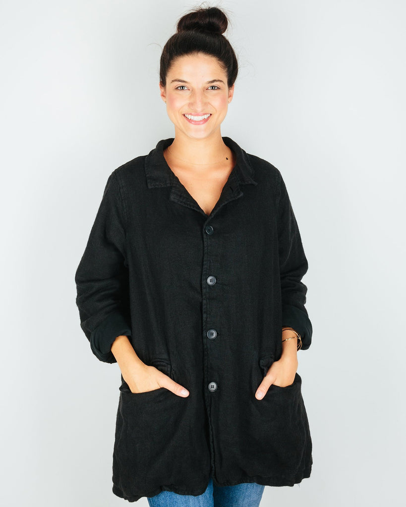 CP Shades Outerwear Black / XS Regan Coat in Black Linen Wool