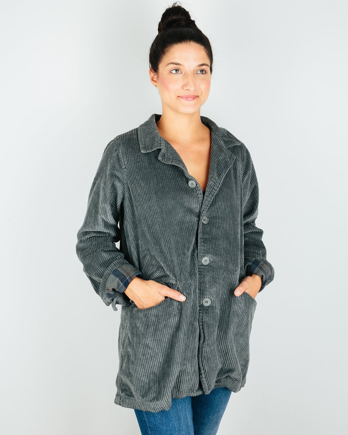 CP Shades Outerwear Regan Coat in Iron Wide Wale Cord